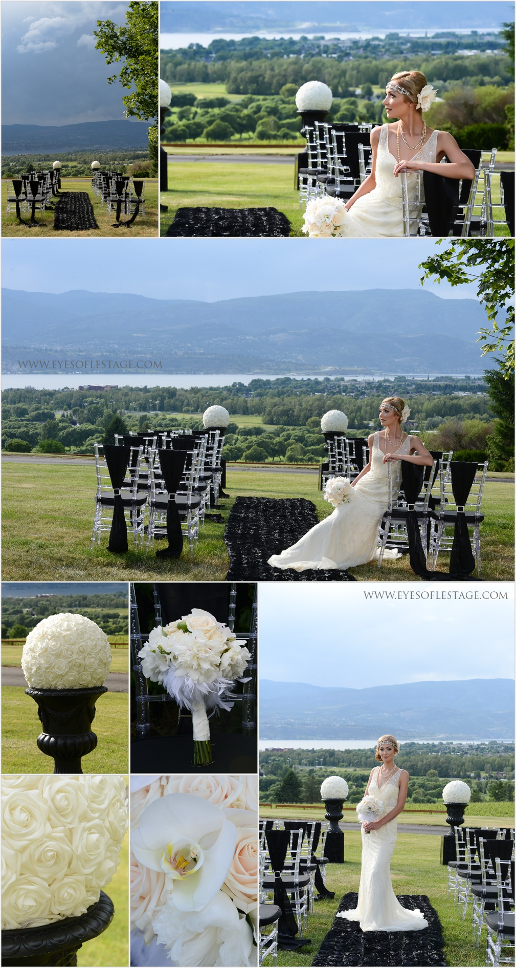 Tantalus winery Wedding Ceremony Venue, Decor and Floral by Stage Right Ect. Wedding gown by Morilee, Pronoias Headpiece;